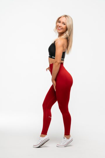 czerwone legginsy bezszwowe