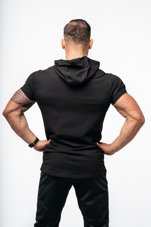 t-shirt z kapturem czarny