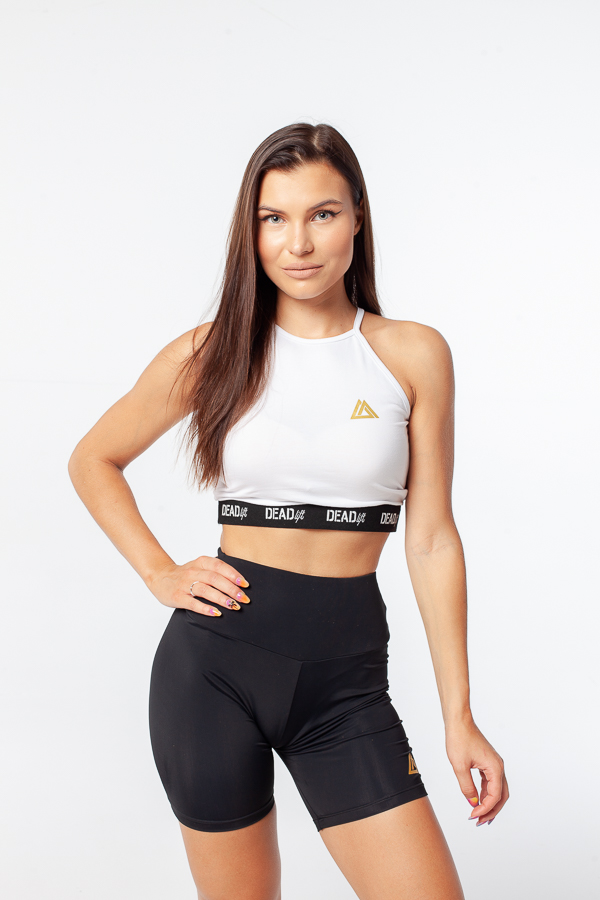Crop top sportowy damski z wyciętymi plecami